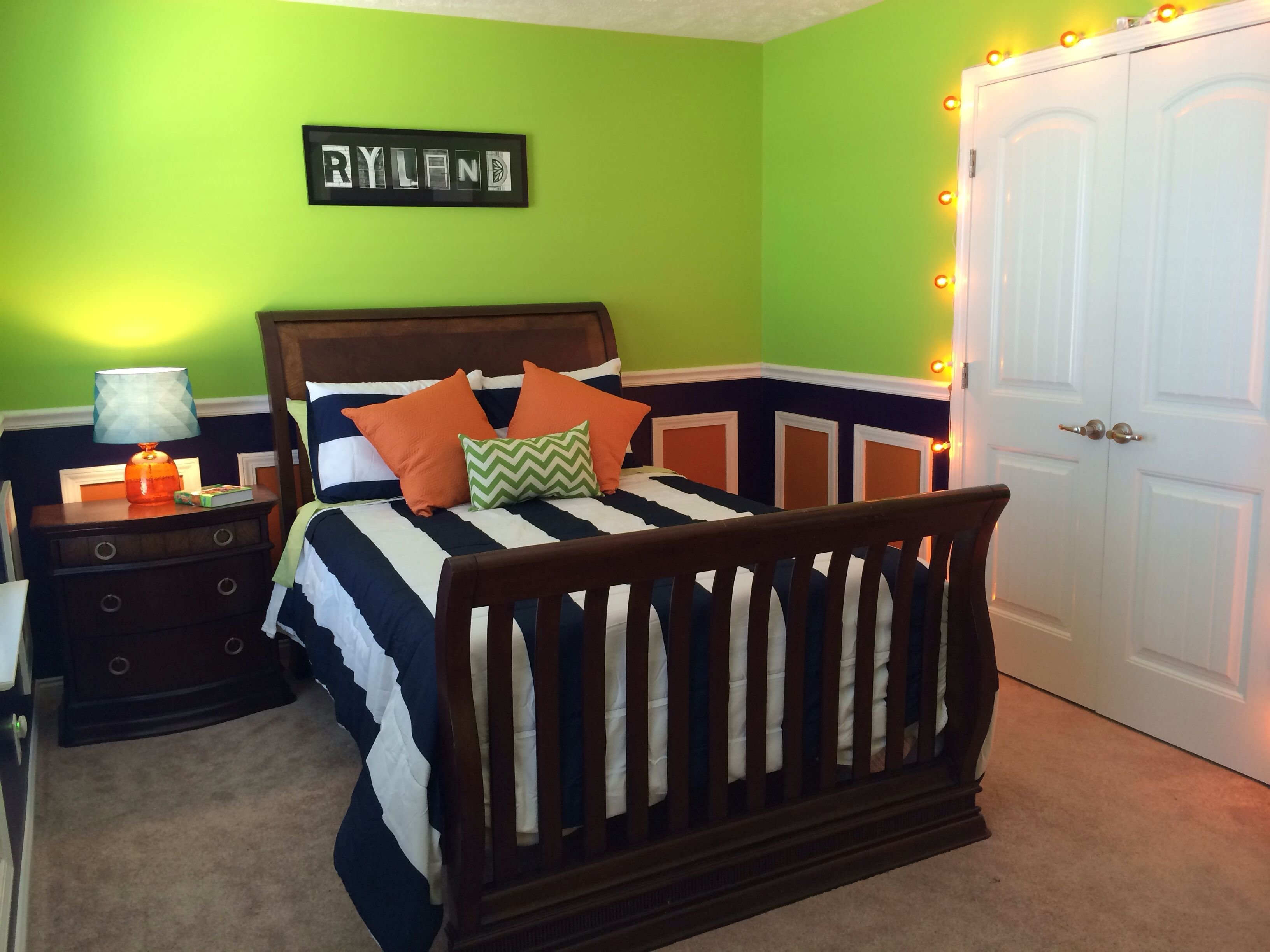 Best Lime Green Navy And Orange Toddler Boys Room I M Loving Our Finished Product For Our Little With Pictures