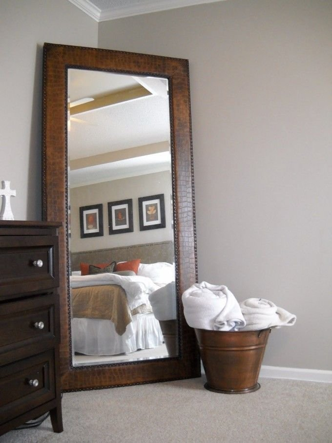Best Leaner Mirror With Brown Wooden Frame On Wheat Floor With Pictures