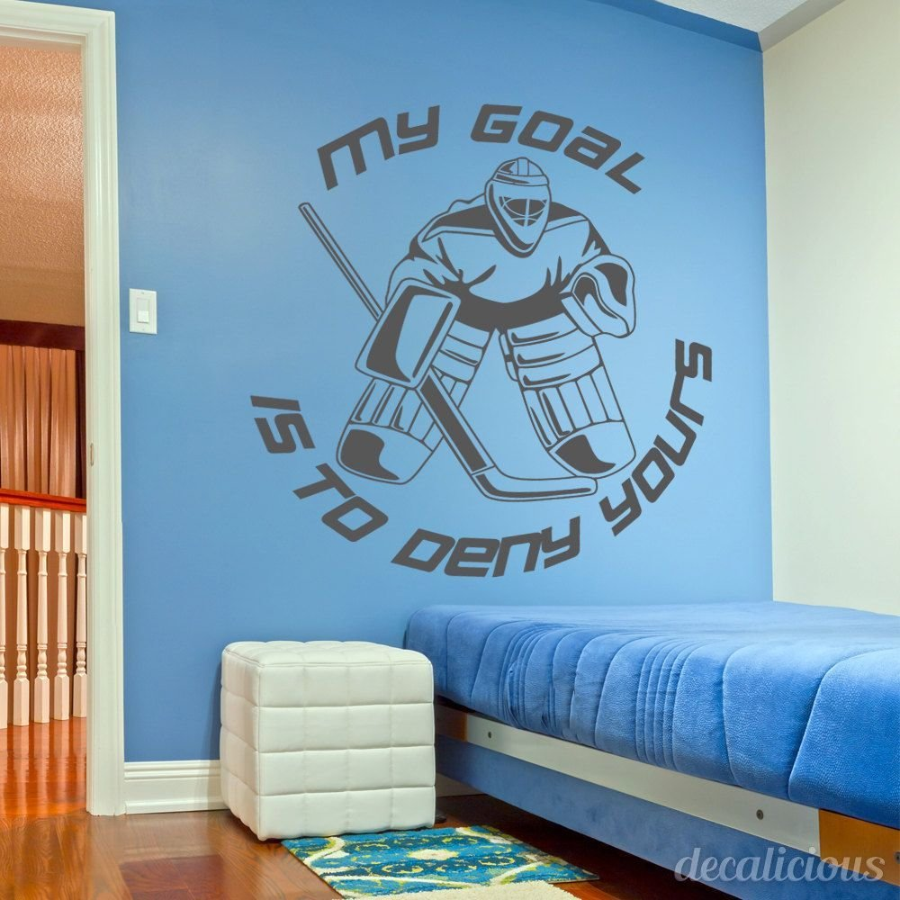 Best Hockey Wall Decal Large Decal Custom Name Decal Boys With Pictures