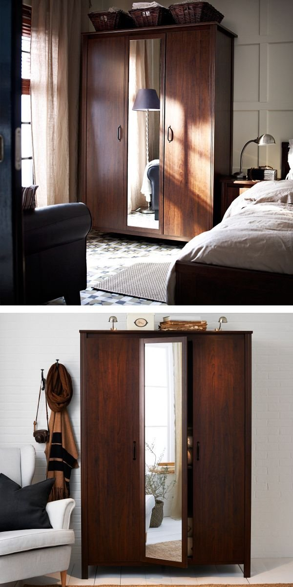 Best Brusali Wardrobe With 3 Doors Brown Space Saving With Pictures
