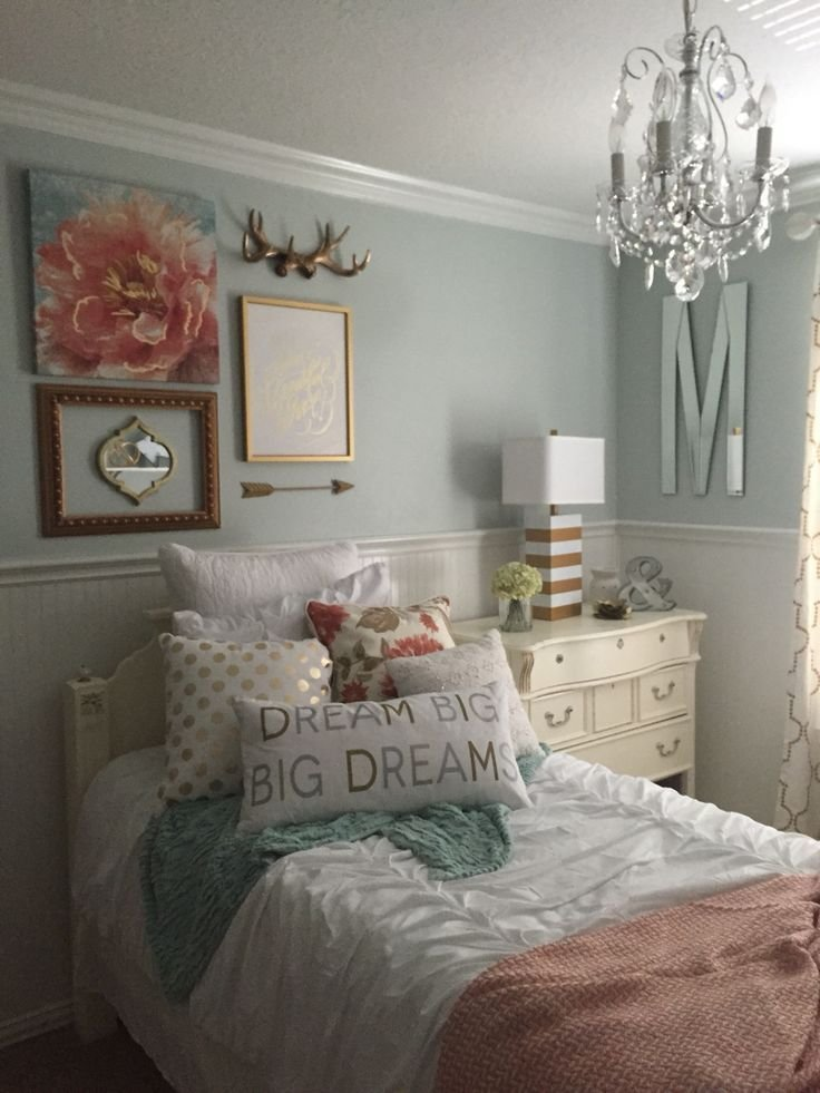 Best Girls Bedroom Mint Coral Blush White Metallic Gold With Pictures