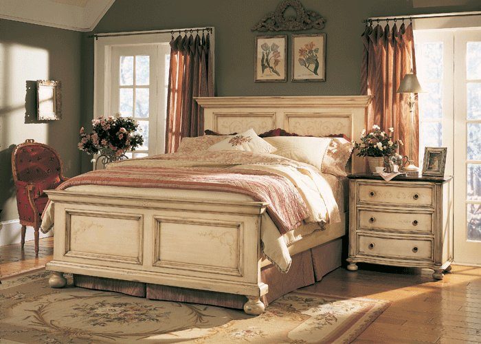 Best The Furniture Detailed Antique White Panel Bedroom Set With Pictures