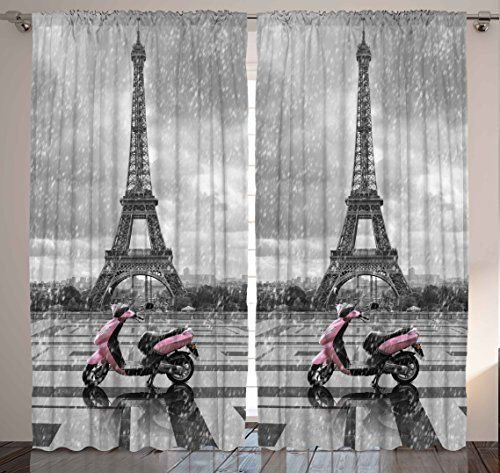 Best Rainy Paris Scene Eiffel Tower Vespa Bedroom Living Room With Pictures