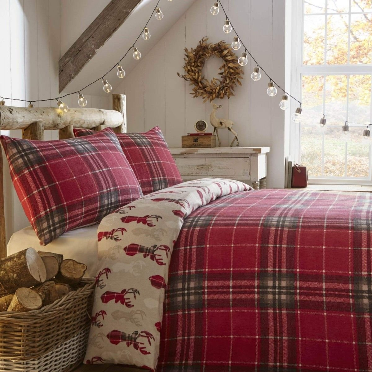 Best Fusion Tartan Stag Brushed Cotton Duvet Cover Set Red With Pictures
