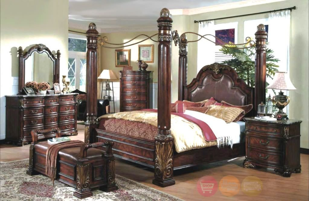 Best King Poster Canopy Bed Marble Top 5 Piece Bedroom Set With Pictures