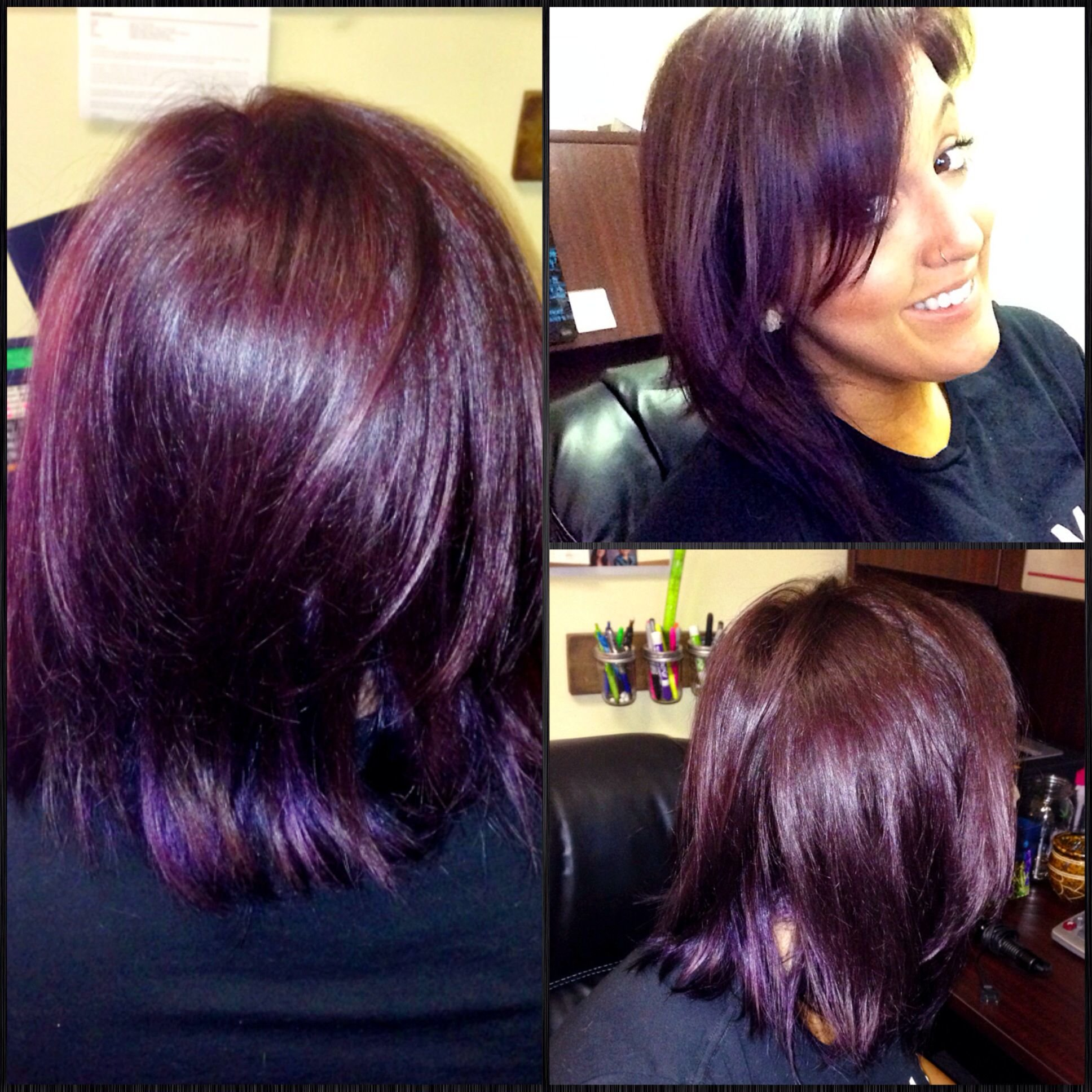 Free My New Plum Hair I Used Matrix Color Sync 5V With Some Red Kicker And Pravana Vivids In Violet Wallpaper