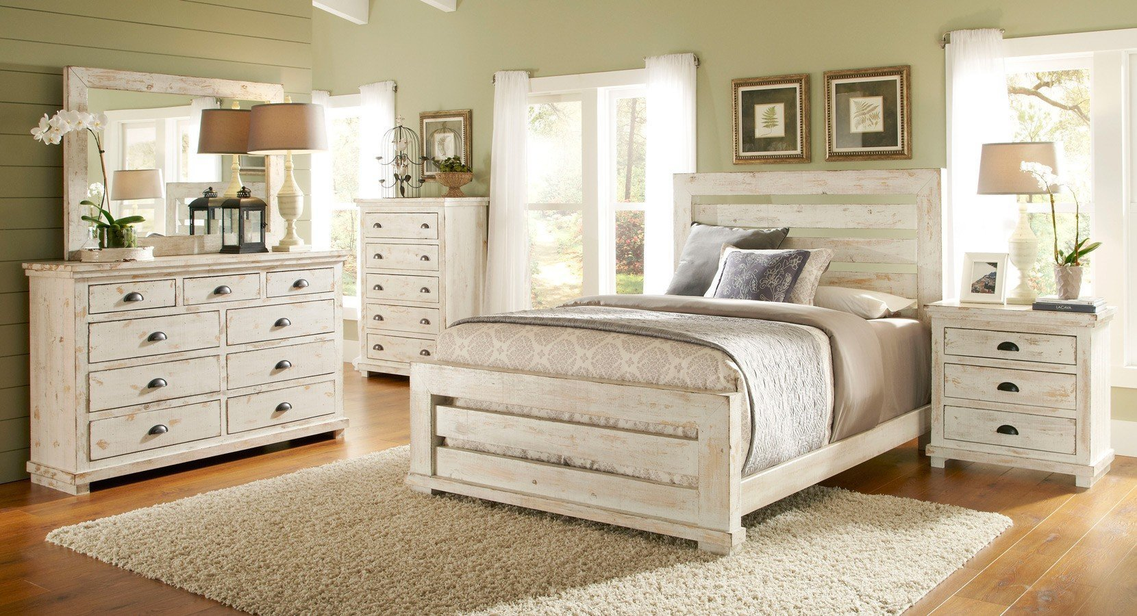 Best Willow Slat Bedroom Set Distressed White Progressive With Pictures