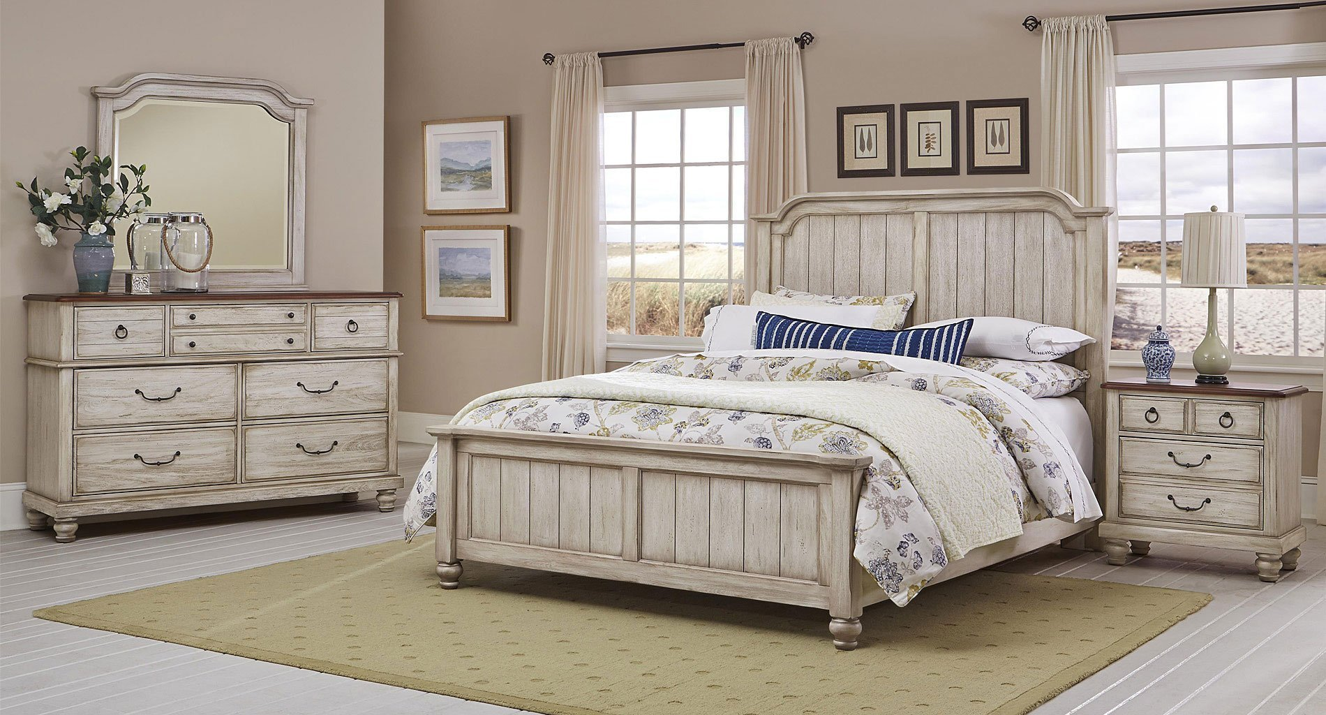 Best Arrendelle Panel Bedroom Set Rustic White Vaughan With Pictures