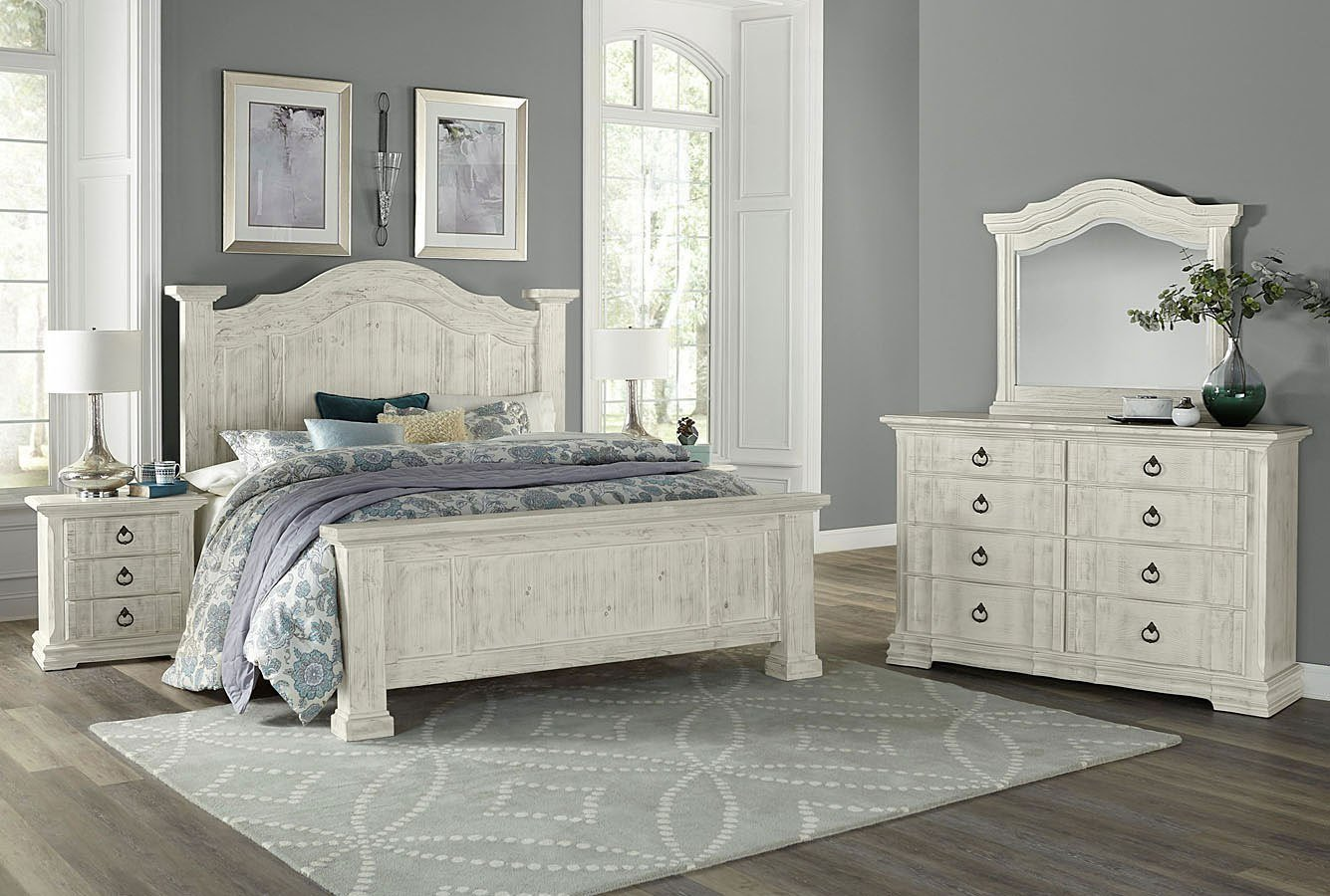 Best Rustic Hills Poster Bedroom Set Weathered White Vaughan With Pictures