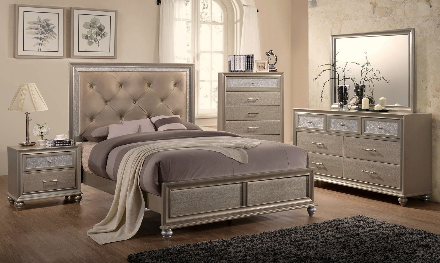 Best Lila Panel Bedroom Set Crown Mark Furniture Furniture Cart With Pictures