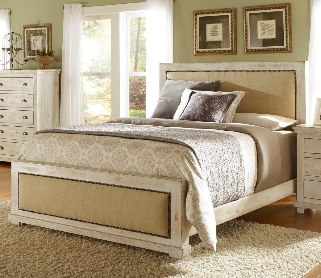 Best Willow Upholstered Bedroom Set Distressed White With Pictures