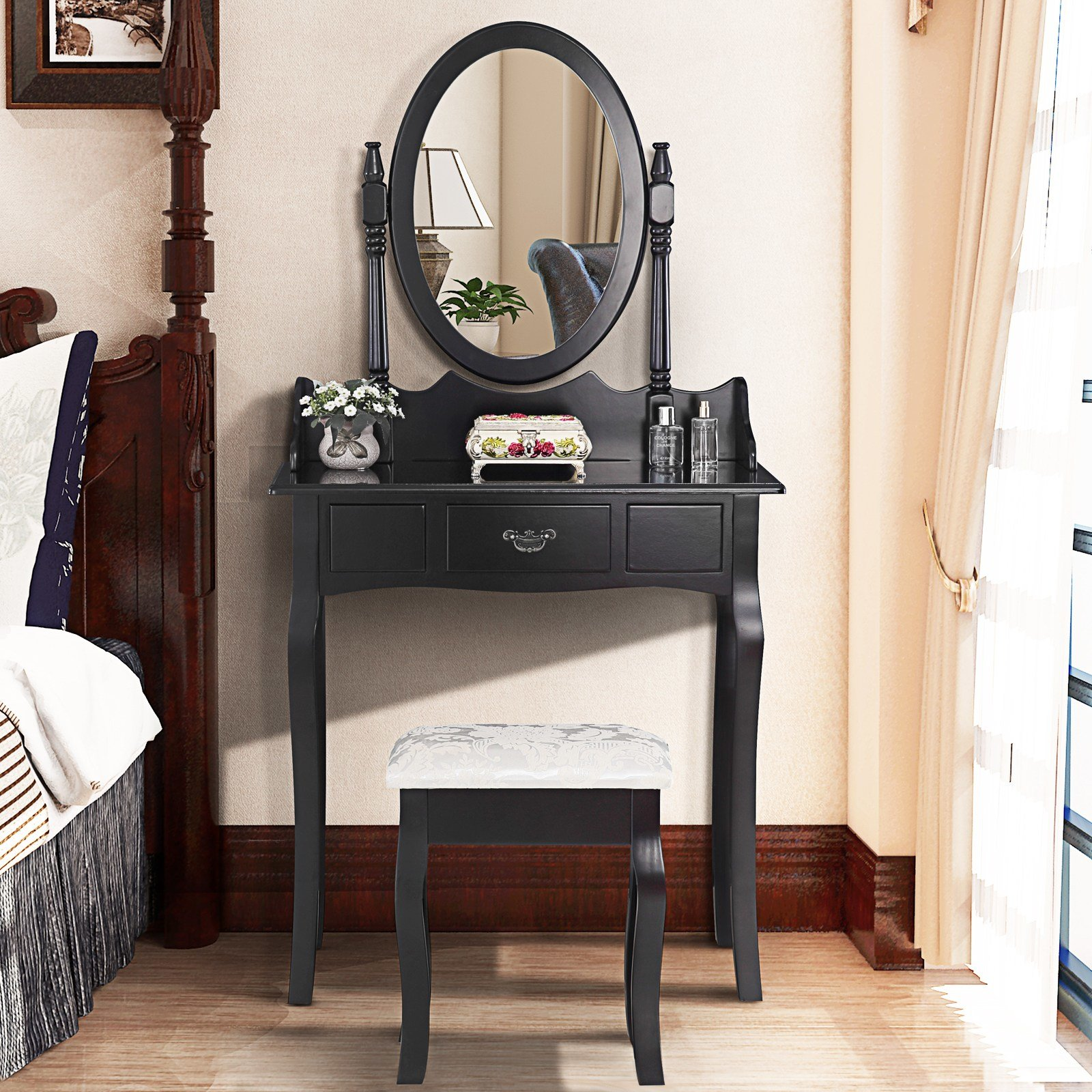 Best Black Dressing Table Makeup Desk With Stool And Oval With Pictures
