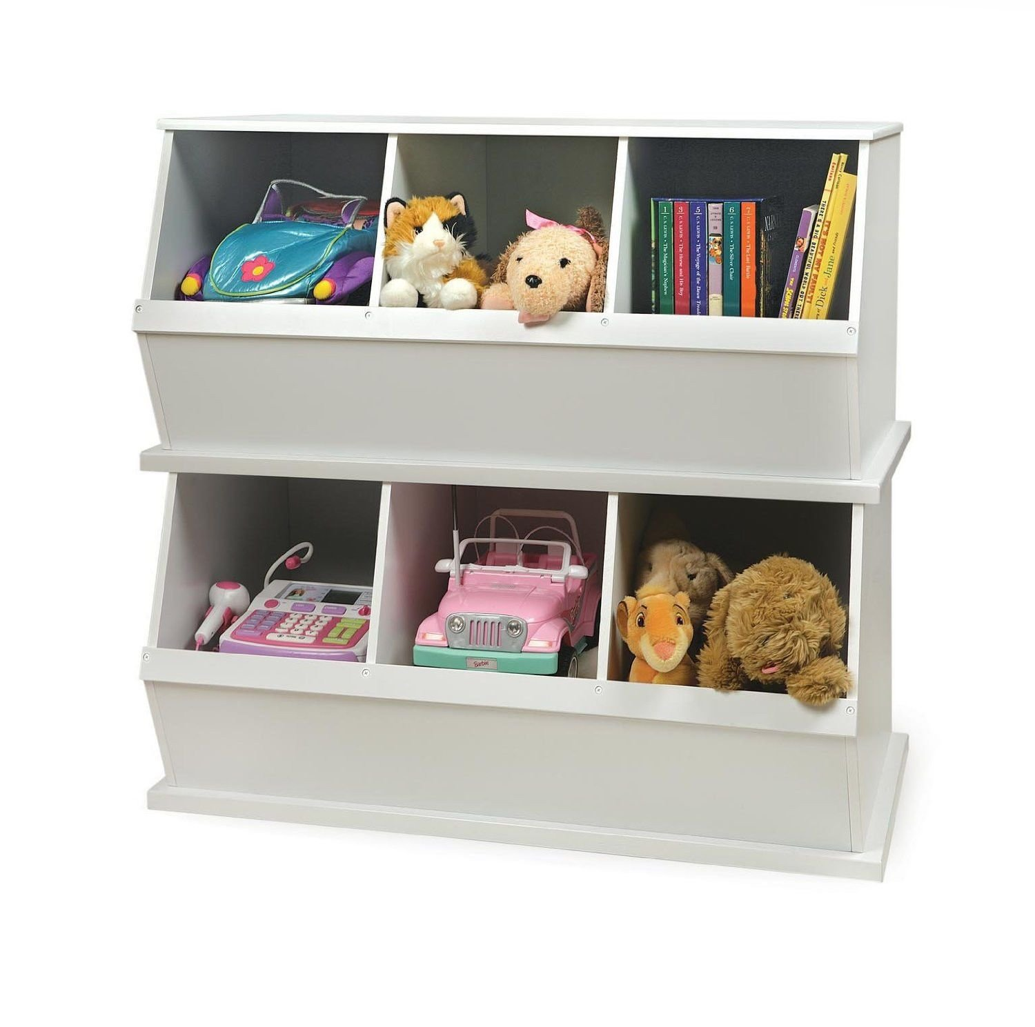 Best Three Bin Stackable Storage Cubby In White Home Bedroom Badger Basket Mdf Storage Bins Baskets With Pictures