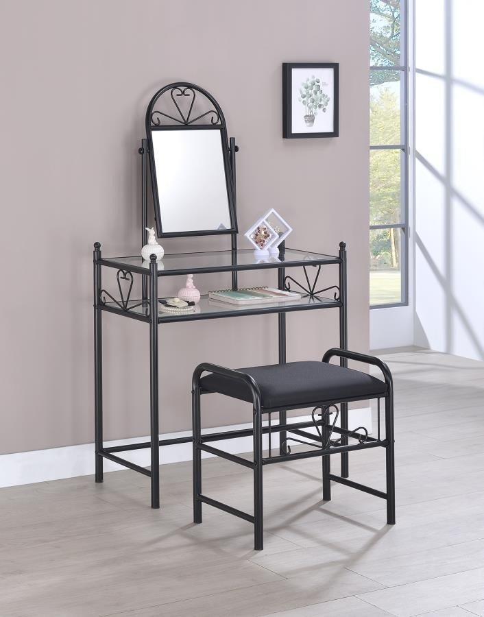 Best Traditional Black Vanity With Glass Top And Fabric Stool With Pictures