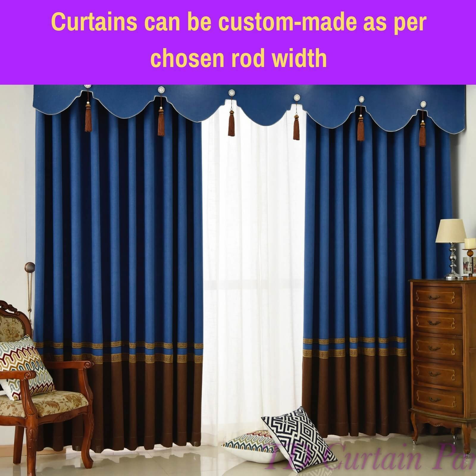 Best Blockout Blue Swag Valance Pelmet Bedroom Door Curtain With Pictures