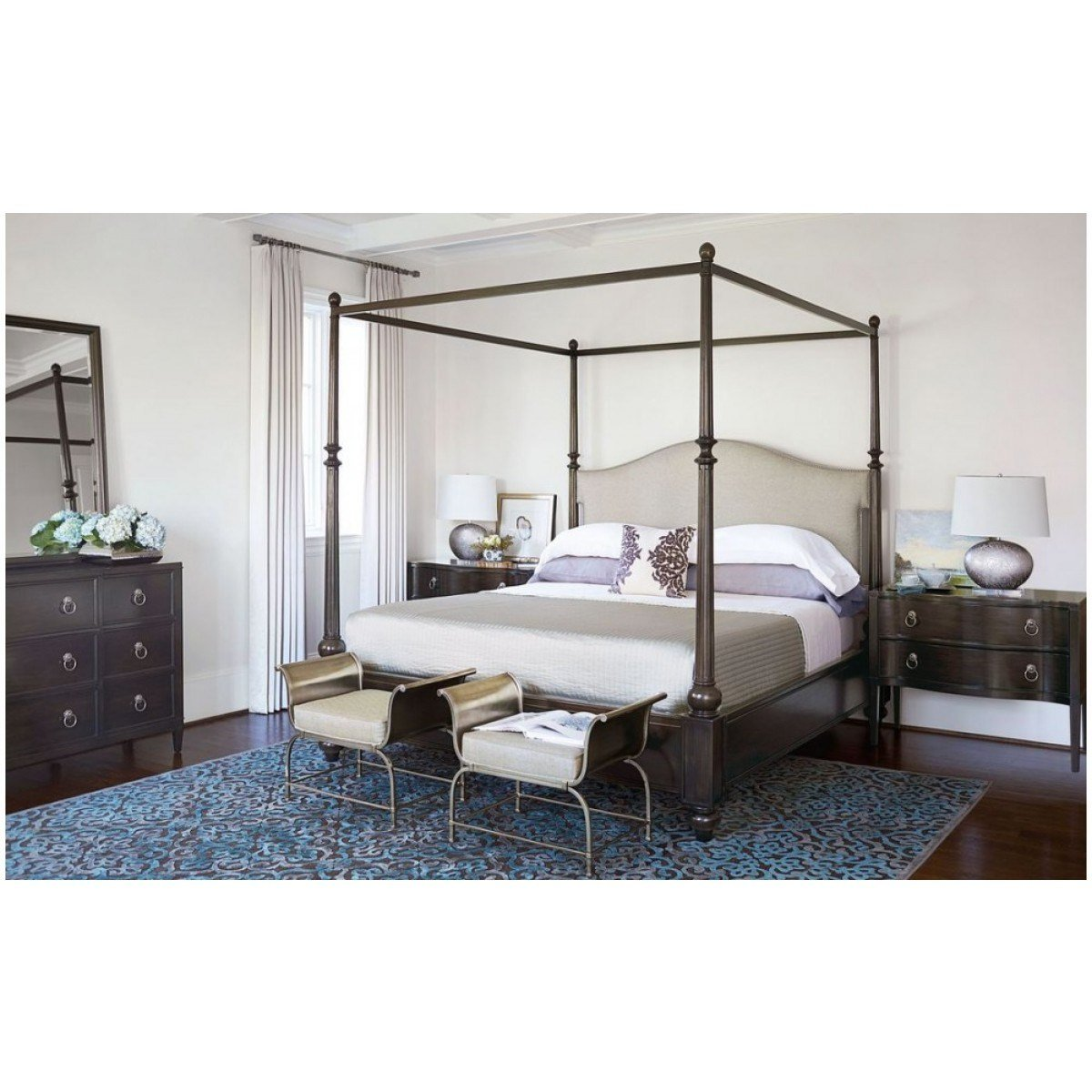 Best Bernhardt Sutton House Upholstered Canopy Bedroom Set With Pictures