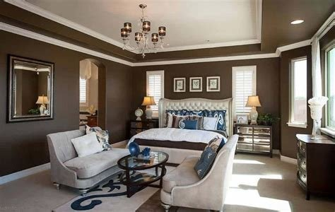 Best Master Bedroom Layout With Sitting Area And Brown Walls With White Border Trims And Chandelier With Pictures
