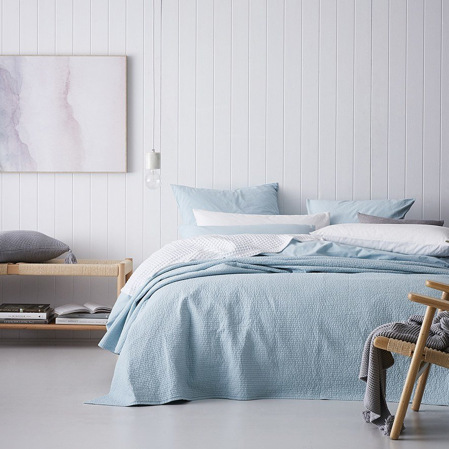 Best Home Republic Stonewashed Cotton Coverlet Ice Blue Bedroom Sheets Adairs Online With Pictures