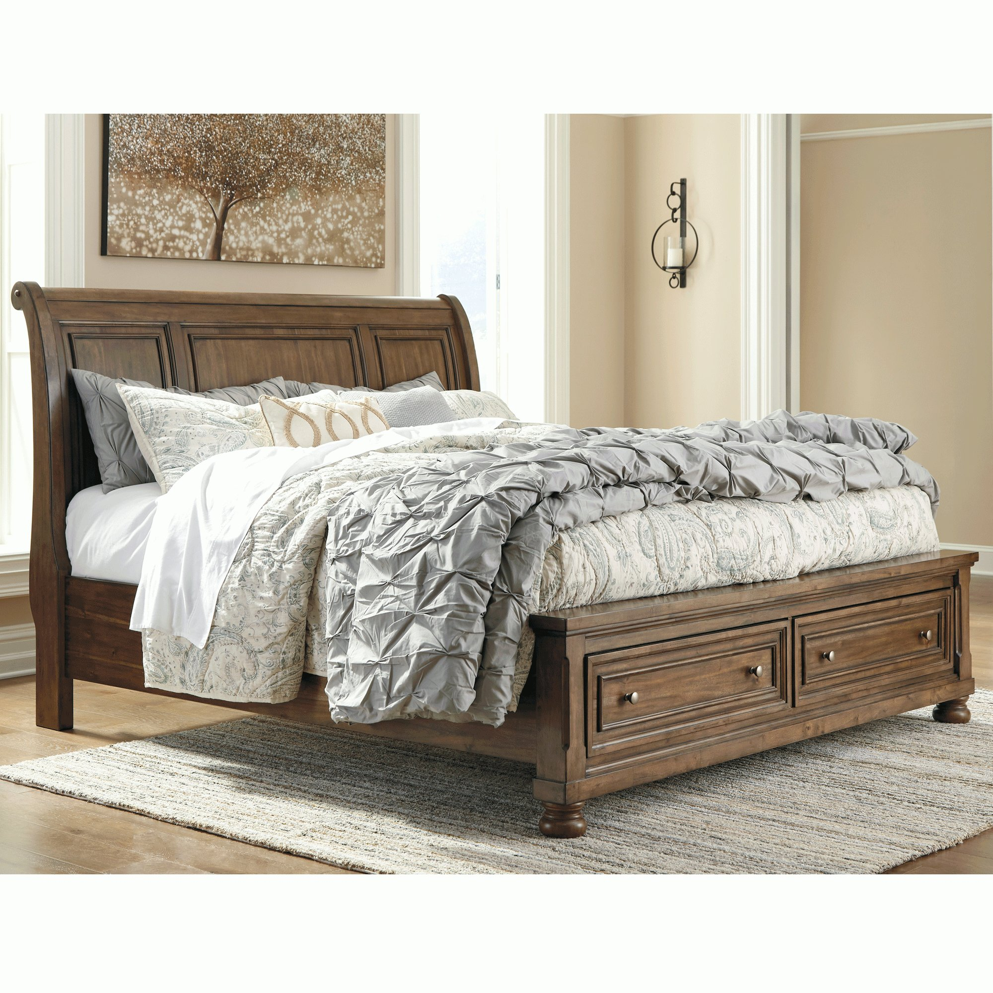 Best Flynnter Sleigh Storage Bed Wood Beds Bedroom Bernie With Pictures