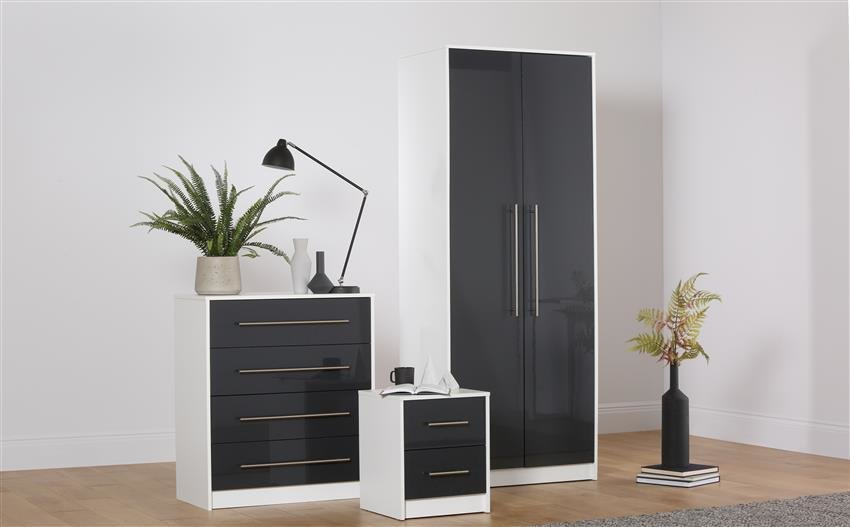 Best Bloomsbury White Grey High Gloss 3 Piece 2 Door Wardrobe With Pictures