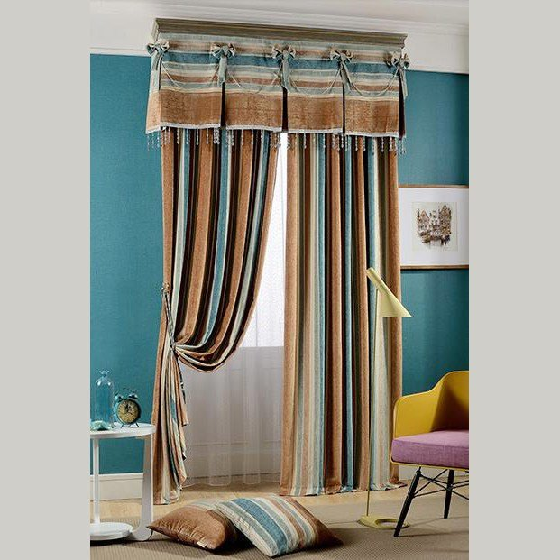 Best Brown And Dark Blue Jacquard Striped Country Curtains For Bedroom Or Living Room Without Valance With Pictures