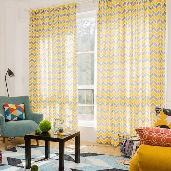 Best Yellow And Gray Chevron Print Linen Cotton Blend With Pictures