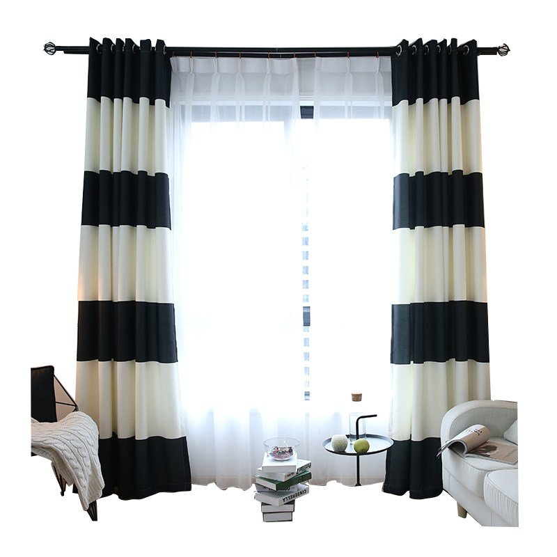 Best White And Black Horizontal Striped Print Cotton Modern Bedroom Curtains On Sale With Pictures