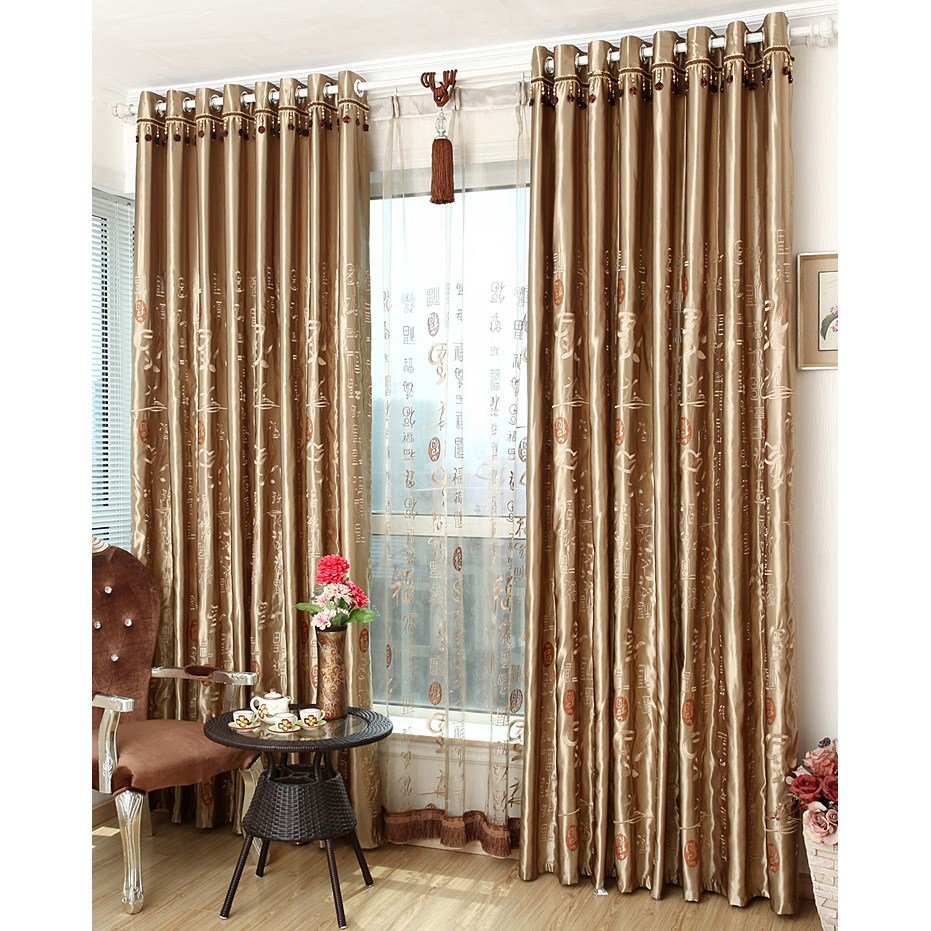 Best Coffee Patterned Embroidery Polyester Insulated And Blackout Bedroom Curtains With Pictures