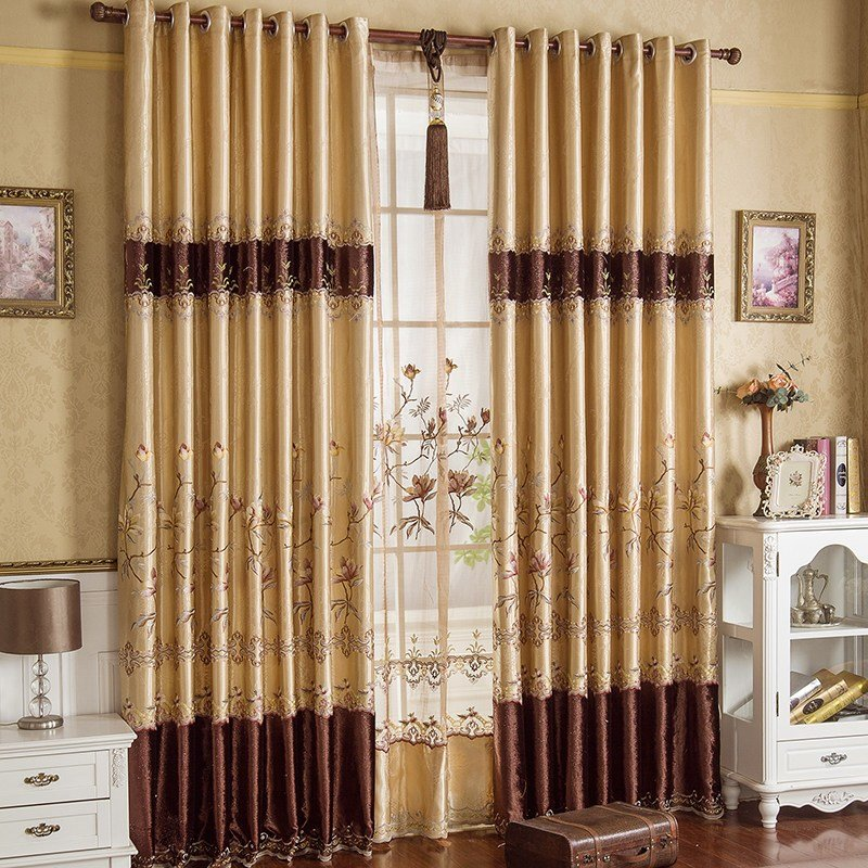 Best Gold Floral Embroidery Faux Silk Luxury Bedroom Curtains With Pictures