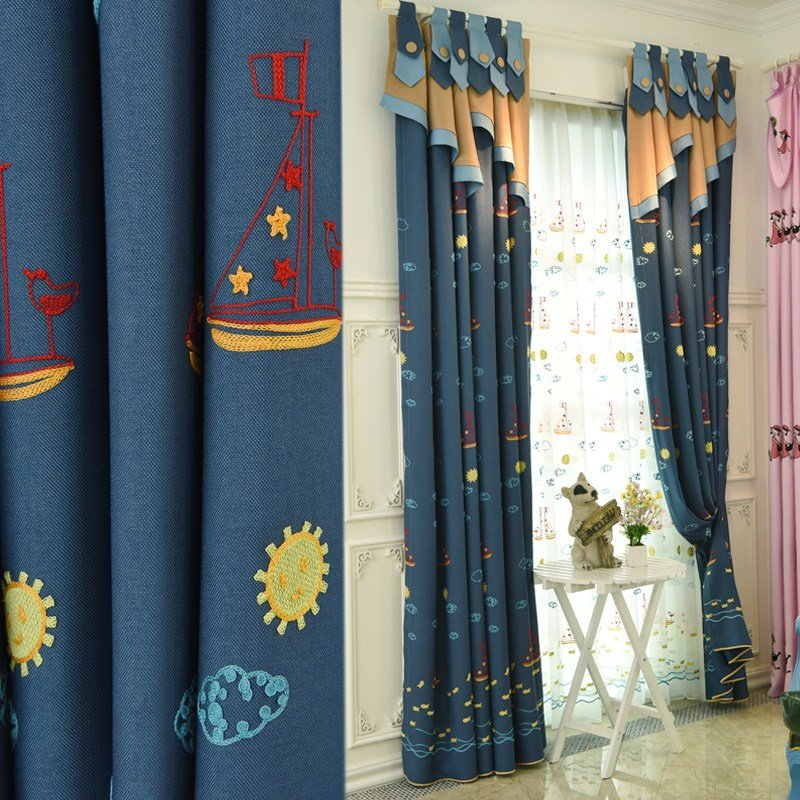 Best Navy Blue Custom Nautical Curtains For Boys Bedroom Without Valance With Pictures