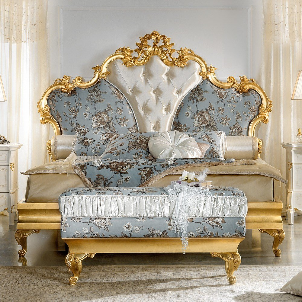 Best Gold Leaf Rococo Button Upholstered Bed Juliettes Interiors With Pictures