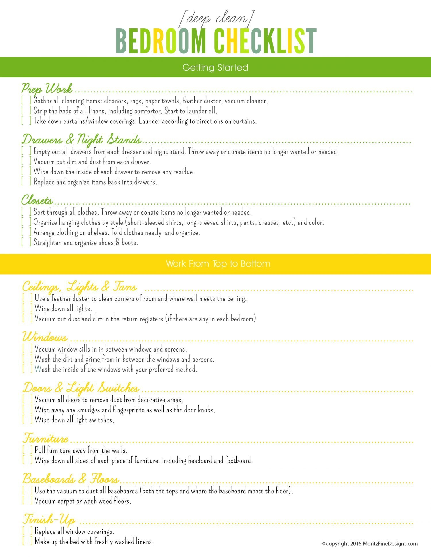 Best Deep Clean Bedroom Checklist Free Printable Included With Pictures