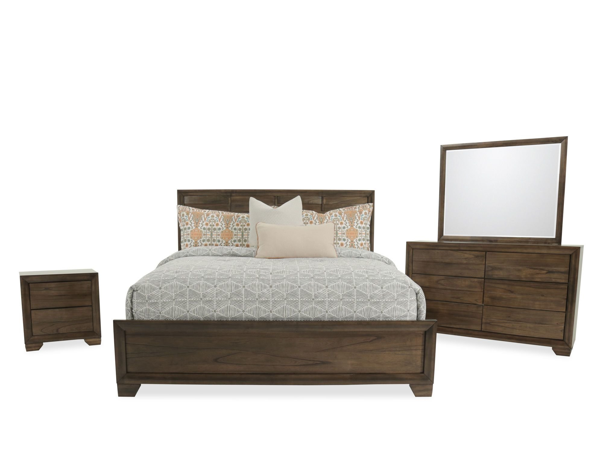 Best Four Piece Contemporary Bedroom Set In Brown Mathis With Pictures