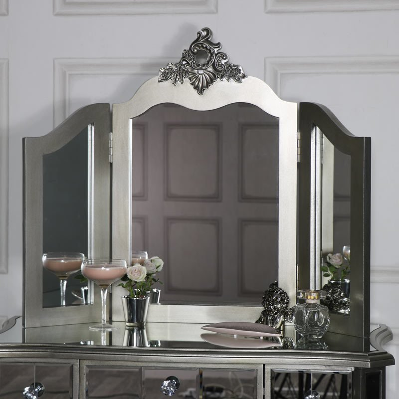 Best Mirrored 3 Drawer Dressing Table Stool And Mirror Bedroom With Pictures