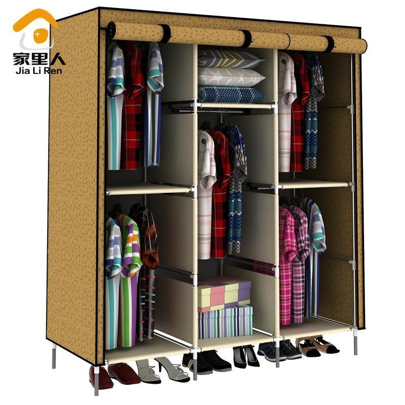 Best Large Capacity Large Wardrobe 5 Hanging Rods Cloth With Pictures