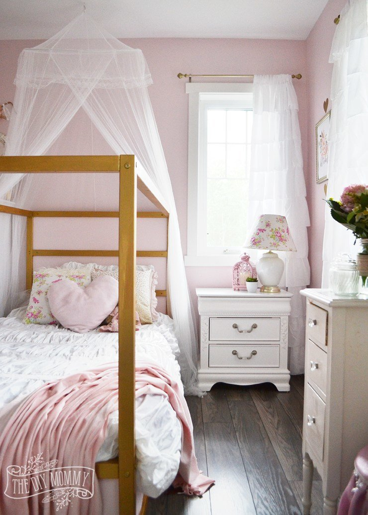 Best A Pink White Gold Shabby Chic Glam Girls' Bedroom With Pictures