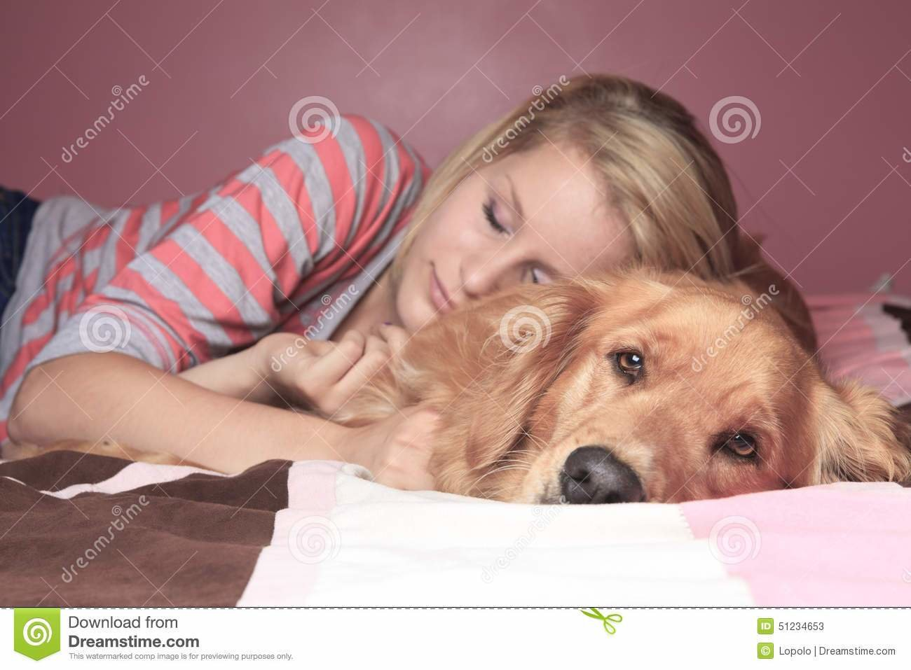 Best Girl And Her Dog Sleeping Together On A Bedroom Stock Photo Image 51234653 With Pictures