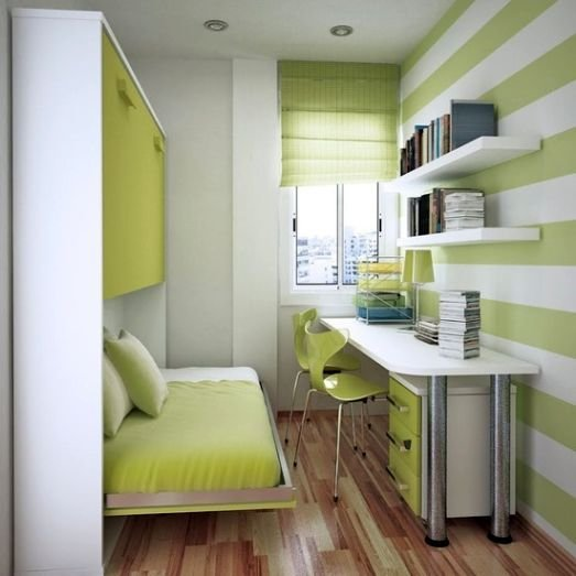 Best Neat Green Home Office In Very Small Bedroom Design Ideas With Pictures