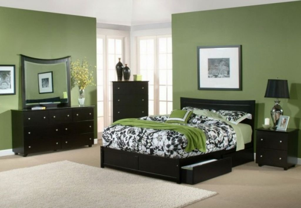 Best Relaxing Paint Colors For Bedrooms With Green Wall And Dark Wood Furnitures With Pictures