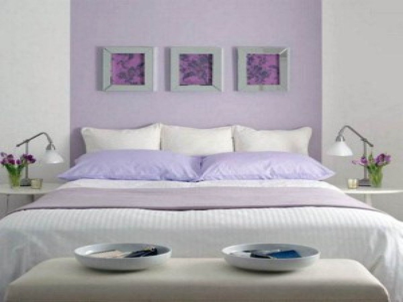 Best Purple Accent Wall Bedroom Light Purple Wall Decorating With Pictures