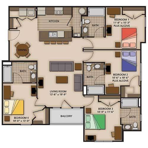 Best 2 3 And 4 Bedroom Apartment Floor Plans Capstone Quarters With Pictures