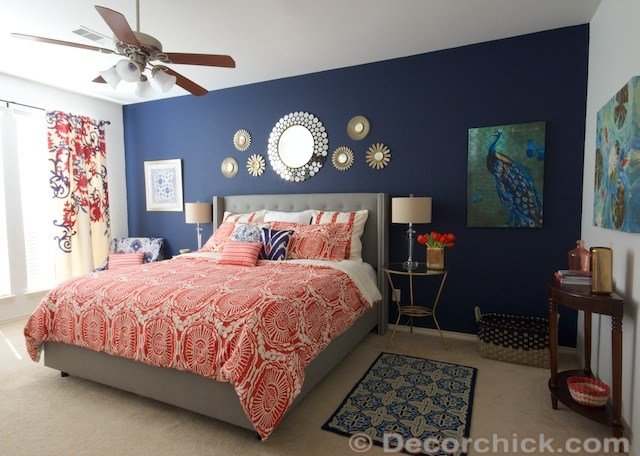 Best Surprise I Redid Our Master Bedroom Again Navy And Coral Bedroom Sw Naval Paint Culture With Pictures