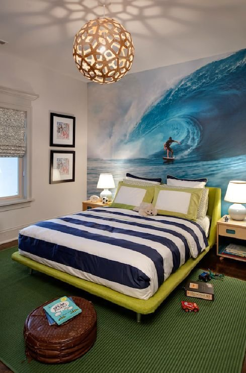 Best Fun Boys Bedroom With Surfer Theme Boys Bedroom With With Pictures