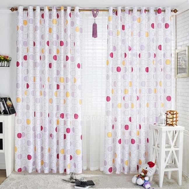 Best Sweet Polka Dots Printing White Bedroom Style Poly Cotton Blend Kids Curtain With Pictures