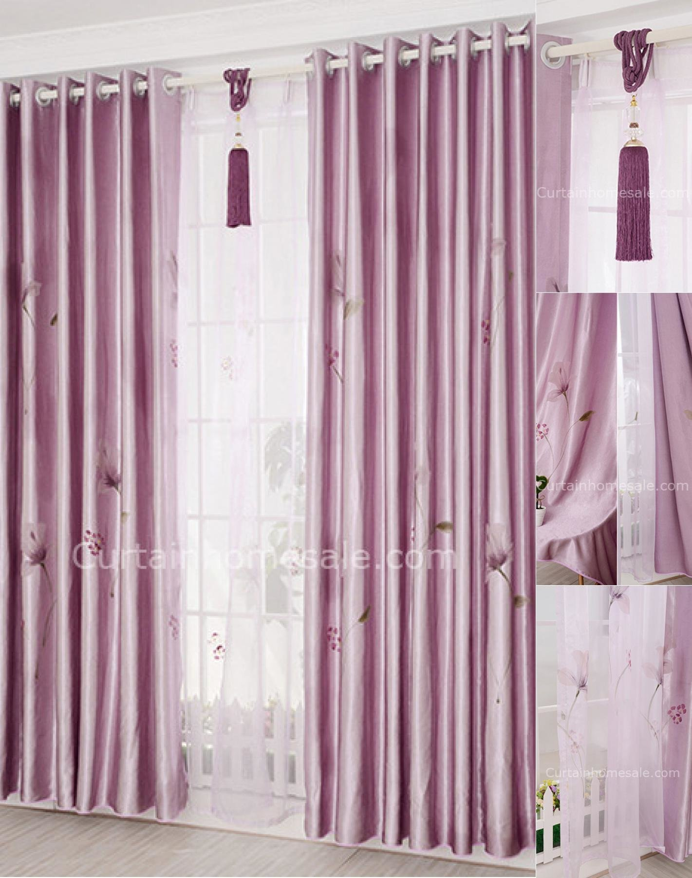 Best Cheap Ready Made Curtains Uk In Light Purple With Floral Printing For Bedroom With Pictures