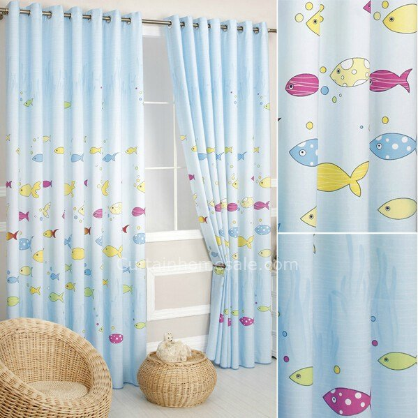 Best Light Blue Fish Kids Bedroom Long Length Curtains Uk With Pictures