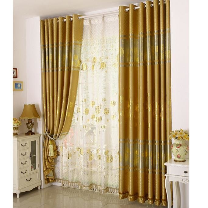 Best Gold Print Floral Poly Cotton Blend Luxury Bedroom With Pictures