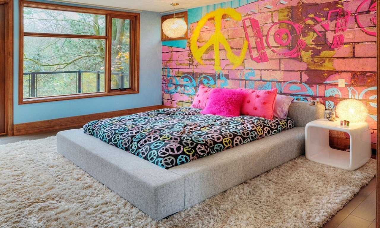 Best Fashion Bedroom Decor T**N Girl Bedroom Wall Graffiti With Pictures