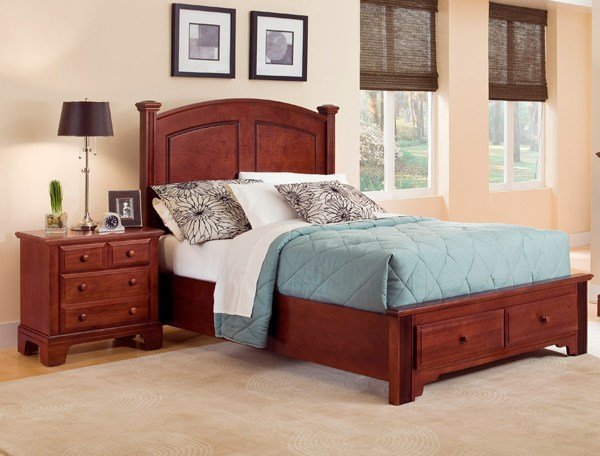 Best Hamilton Franklin Storage Panel Bedroom Set Cherry Finish With Pictures