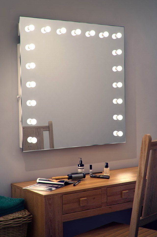 Best Contemporary Style Bedroom With Wall Mounted Lighted Vanity Mirror And White Flaming Light With Pictures